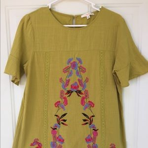 Orange Creek bohemian floral embroidered blouse